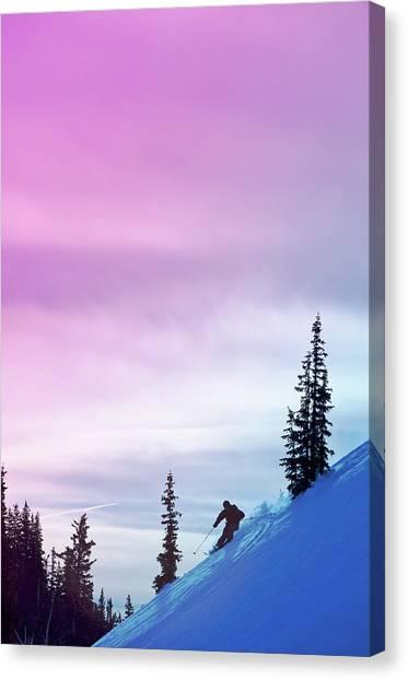Downhill Skier At Alta Ski Resort Canvas Print