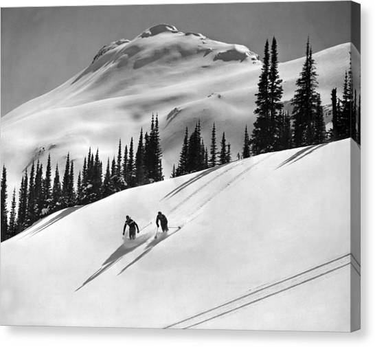 Alberta Canvas Print - Downhill Skiing In Banff by Underwood Archives