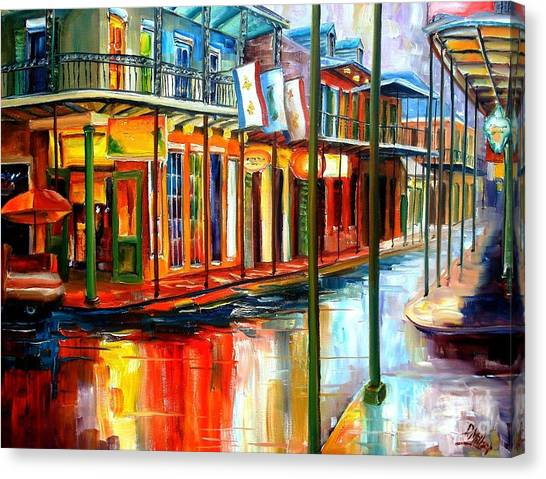 City Landscape Canvas Print - Downpour On Bourbon Street by Diane Millsap