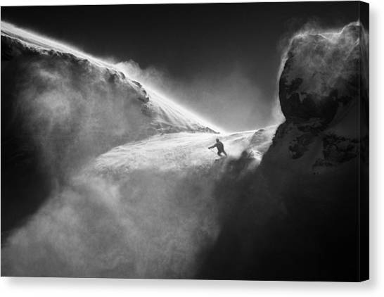 Skiing Canvas Print - Downstream.. by