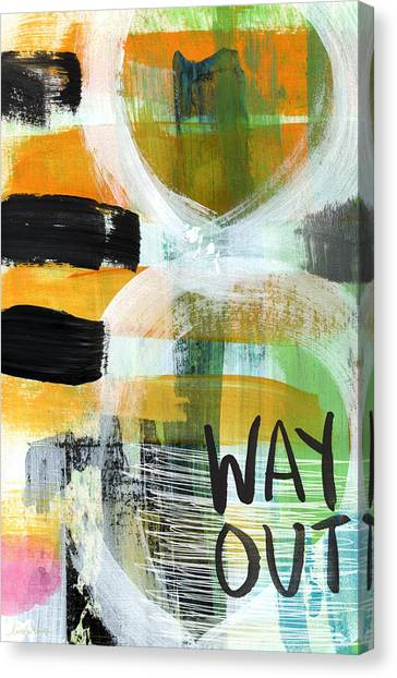 Expressionism Canvas Print - Downtown- Abstract Expressionist Art by Linda Woods
