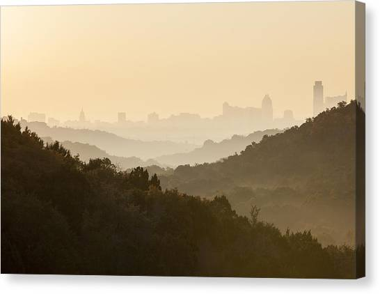 Austin Skyline Canvas Print - Downtown Austin From 360 On A Foggy Morning by Rob Greebon