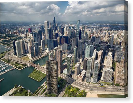 Choppers Canvas Print - Downtown Chicago Aerial by Adam Romanowicz