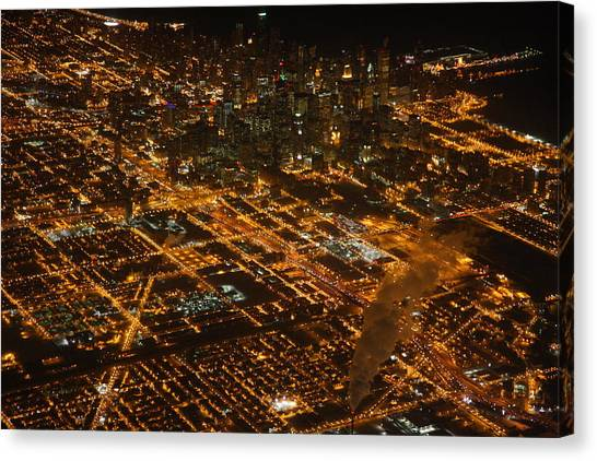 Downtown Chicago At Night Canvas Print