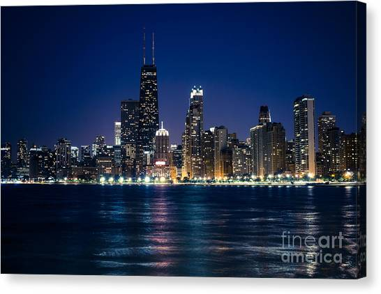 Downtown City Of Chicago At Night Canvas Print by Paul Velgos
