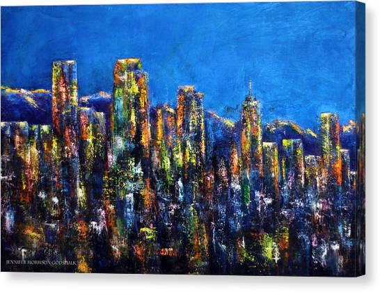 Downtown Denver Night Lights Canvas Print