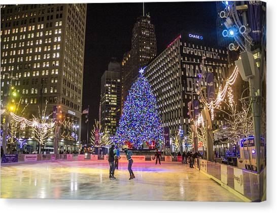 Downtown Detroit Ice Rink  Canvas Print