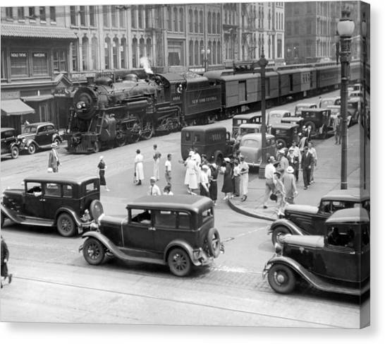 Freight Trains Canvas Print - Downtown Empire State Express by Underwood Archives