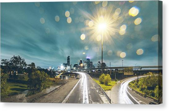 Downtown Houston Flooding At Night Canvas Print by Onest Mistic