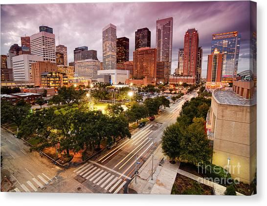 Houston Skyline Canvas Print - Downtown Houston Skyline During Twilight by Silvio Ligutti