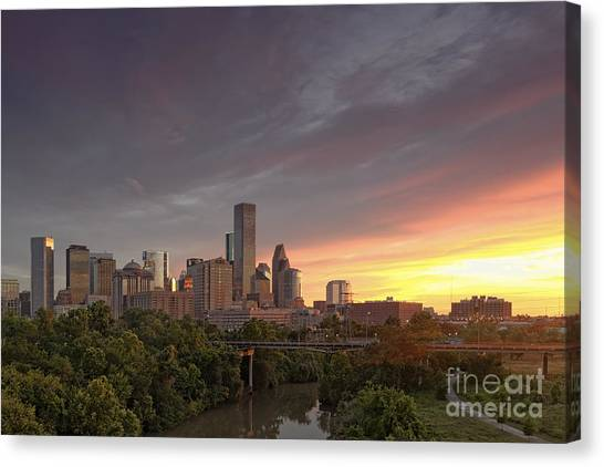 Aac Canvas Print - Downtown Houston Skyline Glorious Sunset Light by Silvio Ligutti