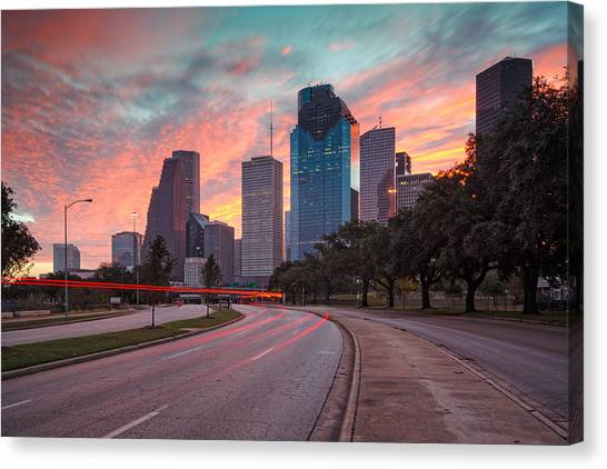 Houston Canvas Print - Downtown Houston Skyline The Great Fire Of 2012 by Silvio Ligutti