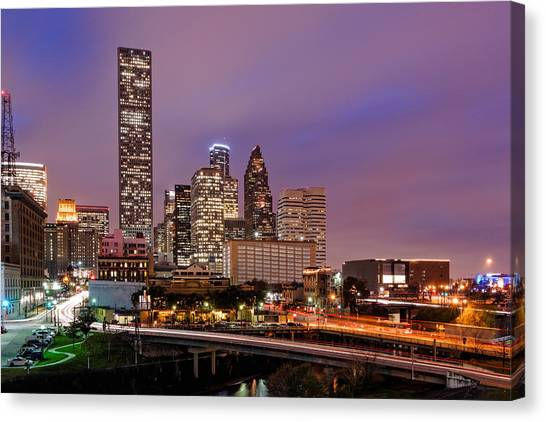 Aac Canvas Print - Downtown Houston Texas Skyline Beating Heart Of A Bustling City by Silvio Ligutti