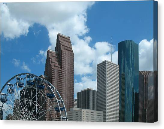 Downtown Houston With Ferris Wheel Canvas Print