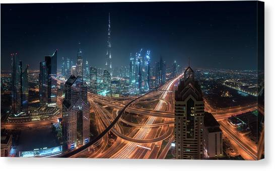 Dubai Skyline Canvas Print - Downtown by Javier De La