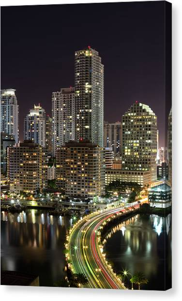 Downtown Miami From Brickell Key Canvas Print