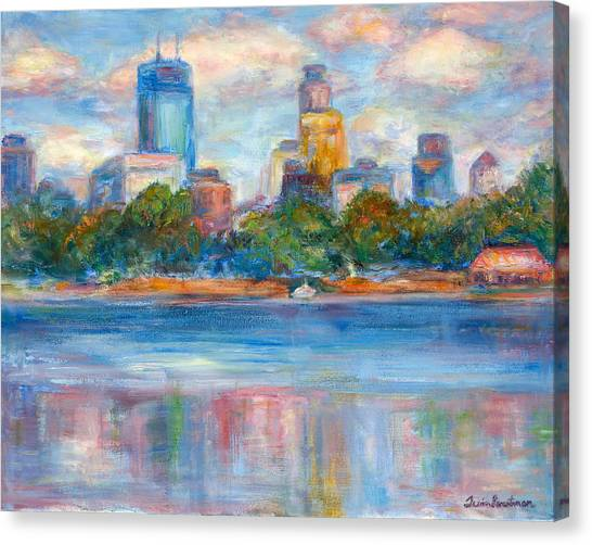 Downtown Minneapolis Skyline From Lake Calhoun II - Or Commission Your City Painting Canvas Print