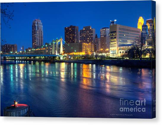 Downtown Minneapolis Skyline Hennepin Avenue Bridge Canvas Print