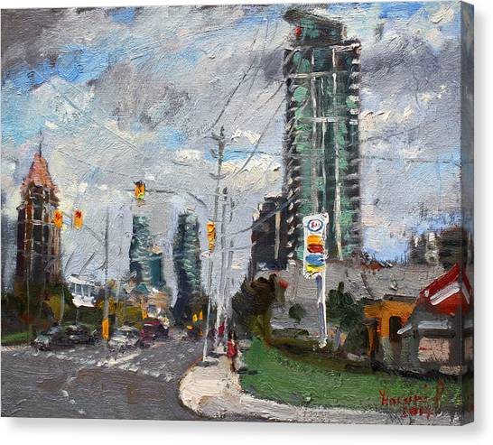 Traffic Canvas Print - Downtown Mississauga On by Ylli Haruni