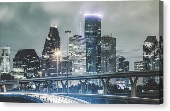 Downtown Of Houston In The Rain At Night Canvas Print by Onest Mistic