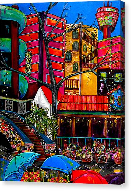 Downtown On The River Canvas Print by Patti Schermerhorn