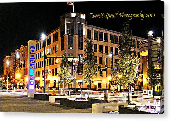 Downtown Orlando At Amway Center Canvas Print
