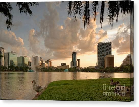 Downtown Orlando Skyline Lake Eola Sunset Canvas Print