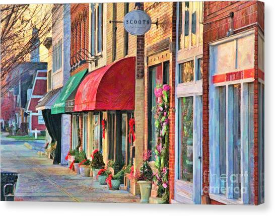 Scoot Canvas Print - Downtown Perrysburg In December by Jack Schultz