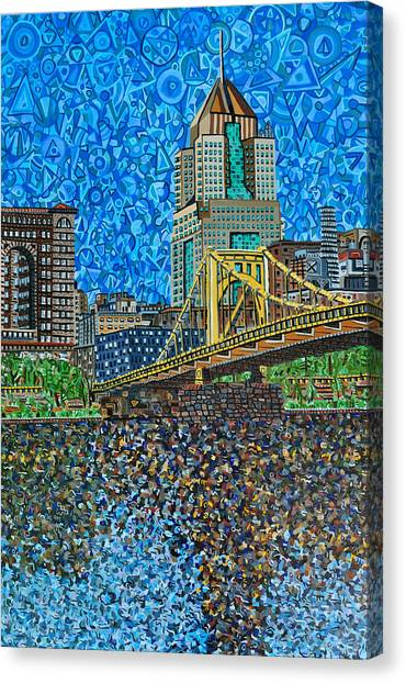 Roberto Clemente Canvas Print - Downtown Pittsburgh - Roberto Clemente Bridge by Micah Mullen