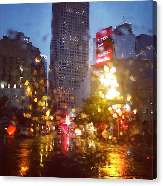 Rain Canvas Print - Downtown Rain by Heidi Hermes