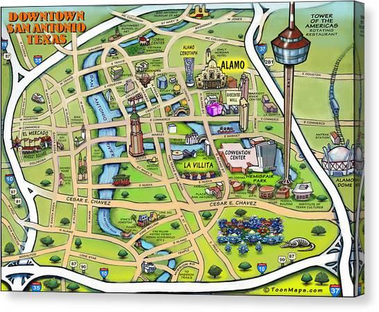 Downtown San Antonio Texas Cartoon Map Canvas Print