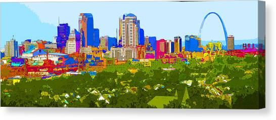 Downtown St. Louis From The Southwest Abstract Canvas Print