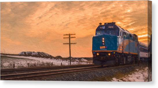 Canvas Print featuring the photograph Downtown Train by Garvin Hunter