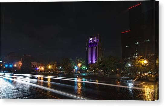 Downtown Tyler Texas At Night Canvas Print