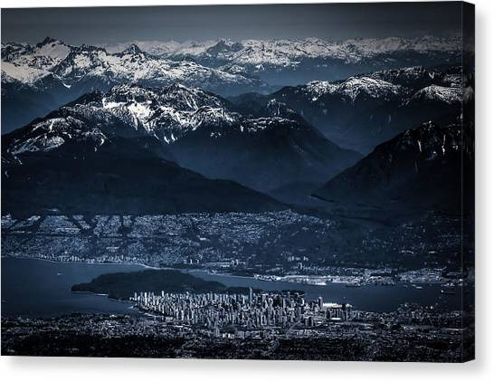 Downtown Vancouver And The Mountains Aerial View Low Key Canvas Print