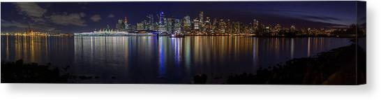 Downtown Vancouver Skyline By Night Canvas Print
