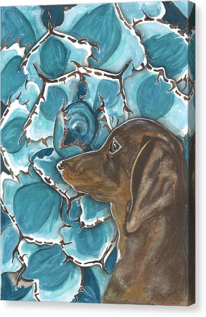 Doxie With Cactus Canvas Print by Pat Devereaux