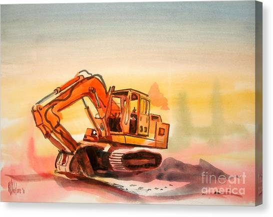 Dozer In Watercolor  Canvas Print
