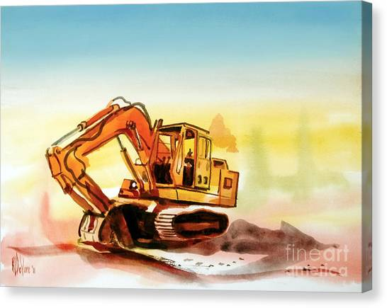 Bulldozers Canvas Print - Dozer October by Kip DeVore