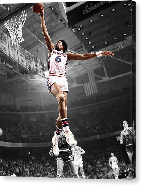 Slam Dunk Canvas Print - Dr J by Brian Reaves