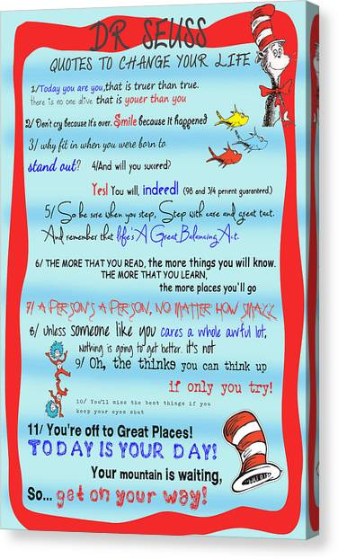 Dr Seuss - Quotes To Change Your Life Canvas Print