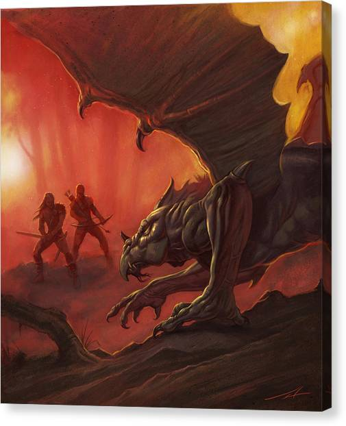 World Of Warcraft Canvas Print - Dragon Hunters by Alan Lathwell