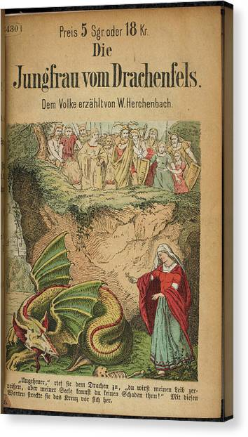 Mythological Creatures Canvas Print - Dragon In A Pit by British Library