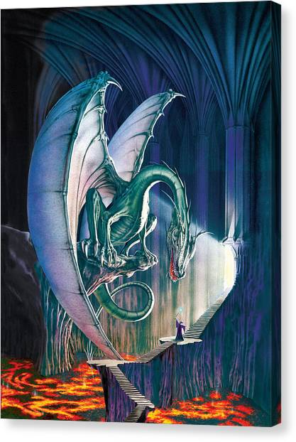 Dragon Canvas Print - Dragon Lair With Stairs by The Dragon Chronicles - Robin Ko