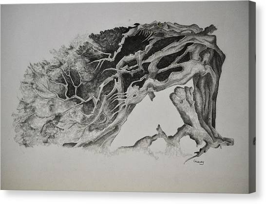 Dragon Tree With People Canvas Print by Glenn Calloway