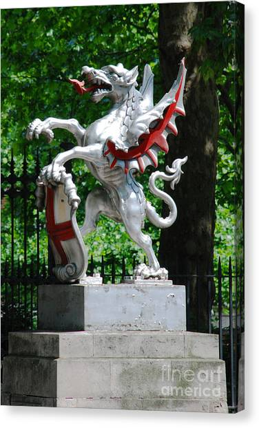 Dragon With St George Shield Canvas Print