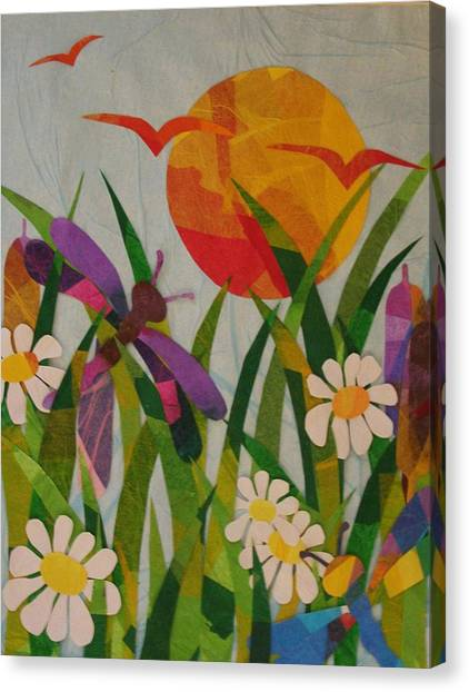 Dragonflies And Daisies Canvas Print