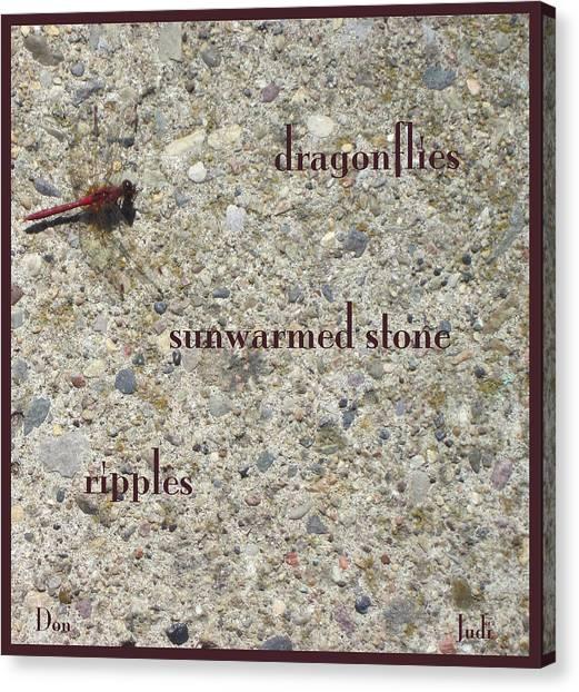 Dragonflies Haiga Canvas Print