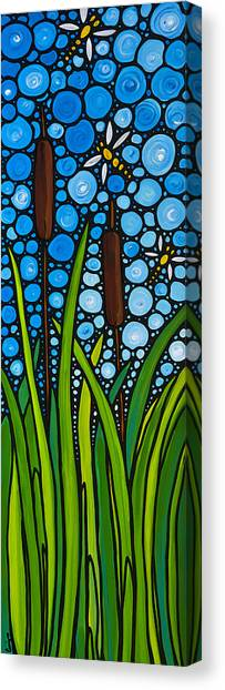 Dragon Fly Canvas Print - Dragonfly Pond By Sharon Cummings by Sharon Cummings