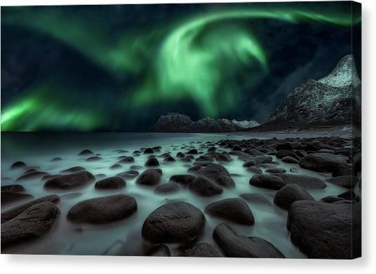 Aurora Borealis Canvas Print - Dragon's Fly by Javier De La